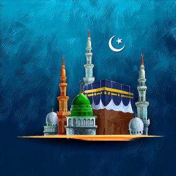 Eid Mubarak (Happy Eid) background with Kaaba