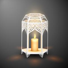 Illuminated lamp on Eid Mubarak (Happy Eid) background