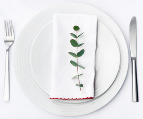 Simple dinner setting, green stem on napkin with plain crockery
