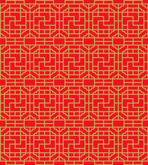 Golden seamless Chinese window tracery square spiral geometry pattern background.