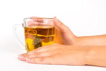 Glass mug of herbal tea
