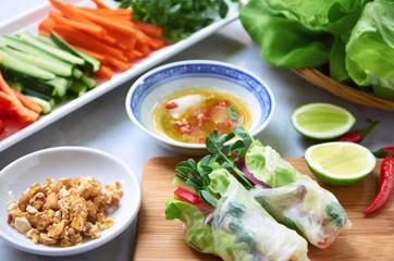 Fresh asian spring rolls