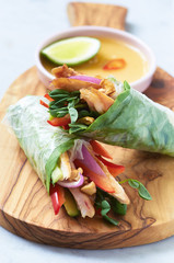 Rice paper fresh spring rolls