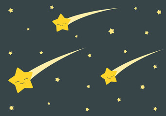 cute cartoon falling stars in the dark night vector background illustration