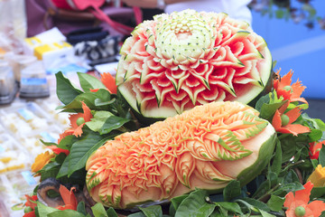 Papaya, watermelon carving
