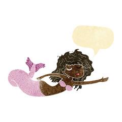 cartoon mermaid with speech bubble