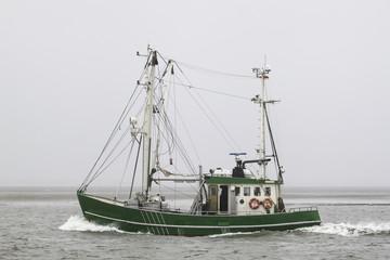 Grüner Fischkutter im Herbst