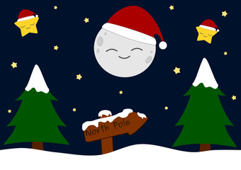 cartoon christmas night vector background illustration with snow
