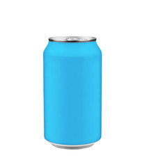 Blue soda can isolated on white