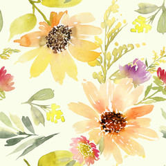 Sunflowers seamless pattern. Watercolor. Summer.