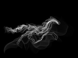 White horse smoke silhouette vector