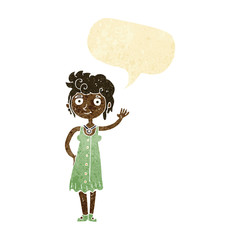 cartoon hippie woman waving with speech bubble