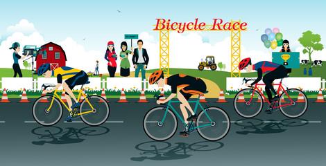 Cyclists racing bike with a farm background.