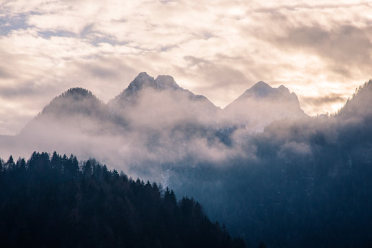 The mountains in the fog