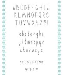 Hand drawn sketch alphabet. Handwritten font. Isolated