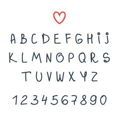 Vector alphabet. Hand drawn letters. Font