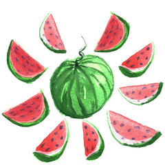 Hand drawn water color illustration of water melons.
