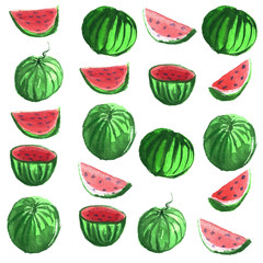 Hand drawn water color illustration set of water melons.
