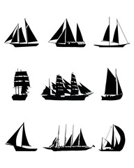 Black silhouettes of sailing boats, vector