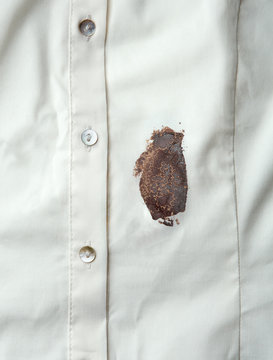 Chocolate sauce stain on a shirt