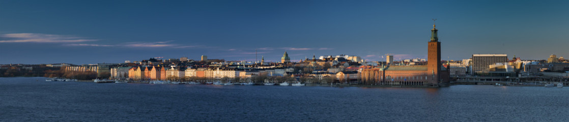 Fantastic winter light in Strockholm panorama Sweden