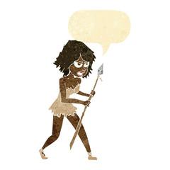 cartoon cave girl with speech bubble