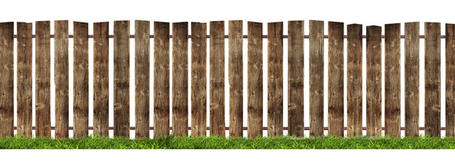 Wooden fence isolated on white background.