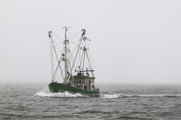 Grüner Fischkutter im Nebel