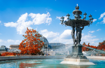 Washington DC historical Bartholdi Fountain and United States Botanic Garden
