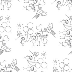 Vector seamless pattern. Kids, school and education
