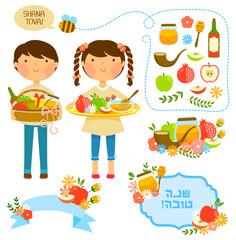 cartoon kids and items related to Rosh Hashanah (Jewish new year)