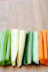 Raw vegetable sticks, carrot cucumber corn celery
