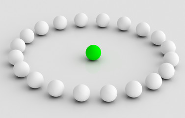 leader taking to team in circle illustration