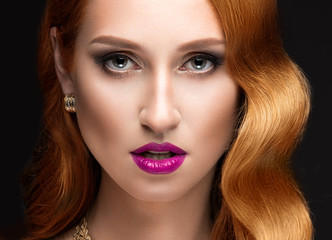 Beautiful red hair woman with evening make-up, pink lips and