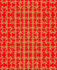 Seamless Chinese window tracery lattice square geometry line pattern.