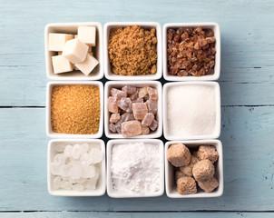 Bowls of various kinds of sugar