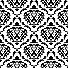 Damask black and white floral seamless pattern