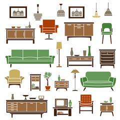 Home furniture elements in flat style