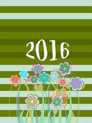 2016 Christmas card framed with flowers set. holiday ornaments