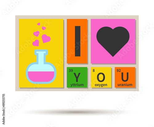 I love you banner chemistry theme with periodic table elements i love you banner chemistry theme with periodic table elements urtaz Images