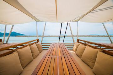luxury wooden seat on the yacht