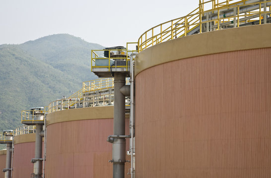Digestion tanks in a sewage treatment plant