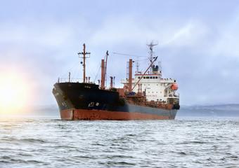 large cargo ship at sea