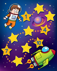 Vector Illustration of Education Numbers game Astronaut to spaceship