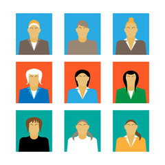 set of businesswoman profile icon female portrait flat design vector illustration