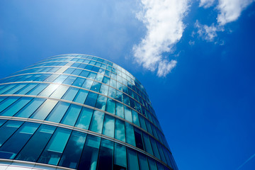 Office building and reflection in London, England, background