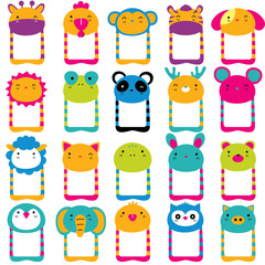 cute animals head clip art set