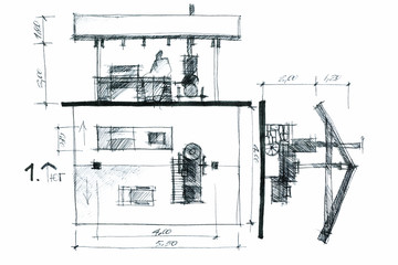 hand drawing of a barbeque area concept with a roof and verandah