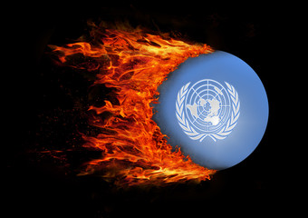Flag with a trail of fire - United Nations