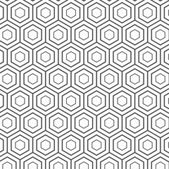 Seamless Geometric Lines Black and White Hexagon Vector Pattern